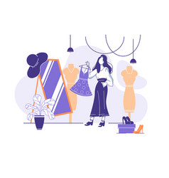 flat young woman trying on clothes in front vector image