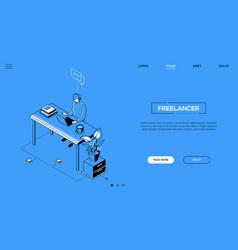 freelancer - line design style isometric web vector image