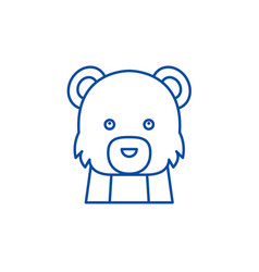 funny bear line icon concept funny bear flat vector image