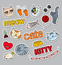 funny cats doodle pets stickers badges vector image