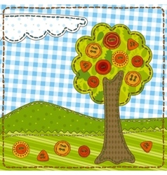 Funny Patchwork with Tree and Buttons vector