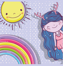 girl fantastic creature with sun and rainbow vector image