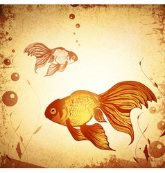 Gold fish grunge vector
