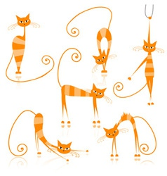 Graceful orange striped cats for your design vector