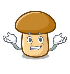 Grinning porcini mushroom character cartoon vector