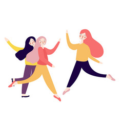 group of happy excited young women jumping bright vector image