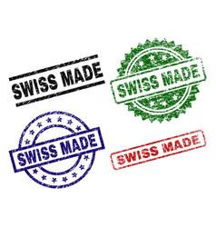 Grunge textured swiss made stamp seals vector