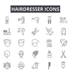 Hairdresser line icons for web and mobile design vector