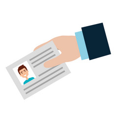 Hand with id document card icon vector