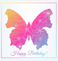 happy birthday card with butterfly gradient vector image vector image