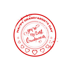 happy grandparents day stamp greeting icon vector image