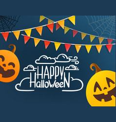 happy halloween card halloween with ute pumpkins vector image