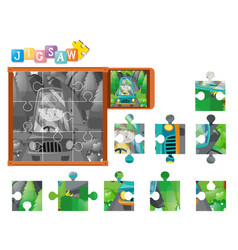 Jigsaw puzzle game with boy driving car vector