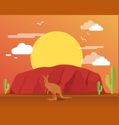 Kangaroo in desert and mountain for traveling vector