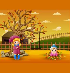 kids playing in garden vector image