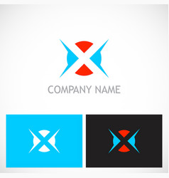 Letter x round game logo vector