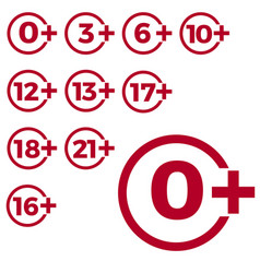 Limit age icon on red background icons age limit vector