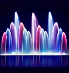 Lit night colorful fountain realistic vector