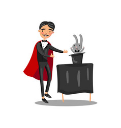 Male magician in black suit and red cape vector