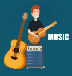 man playing guitar and speaker bass vector image