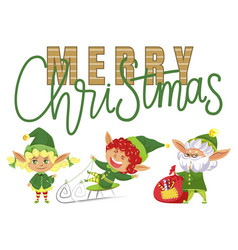 merry christmas elves with presents kid on sled vector image
