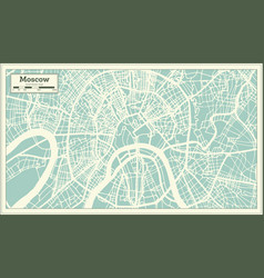 moscow russia city map in retro style outline map vector image