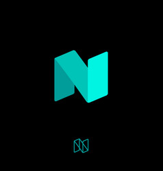n origami logo azure ribbon monogram letter digita vector image