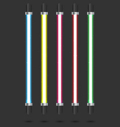Neon tube light set isolated on background vector
