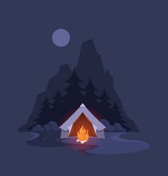night camp tent dark landscape with mountain vector image