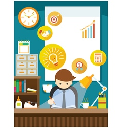 Office Worker on Desk with Office Supplies vector