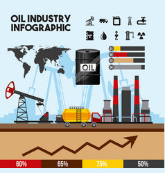 Oil industry infographic of processing petrol and vector