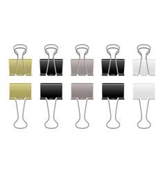 paper clips metallic realistic steel binder vector image