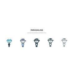 parasailing icon in different style two colored vector image