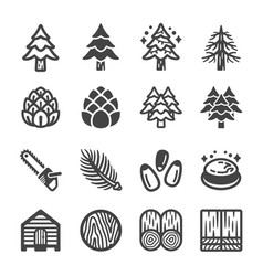 Pine icon set vector