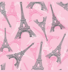 pink grey eifel tower paris seamless repeat vector image