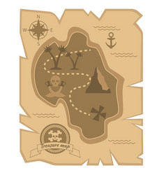 Pirate treasure map in flat style vector