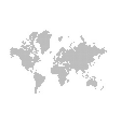 Pixel map of world dotted map of world isolated vector