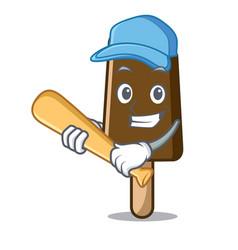 playing baseball chocolate ice cream character vector image