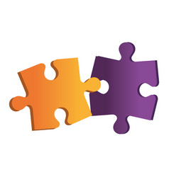 Puzzle game pieces isolated icon vector