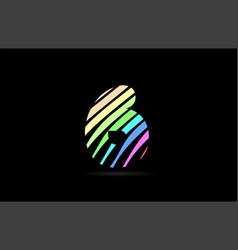 rainbow 6 six number stripes logo icon design vector image