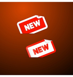 Red Stickers with New Title on Dark Red Background vector