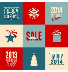 retro design christmas cards set vector image