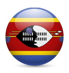 Round glossy icon of swaziland vector