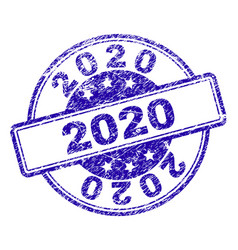 scratched textured 2020 stamp seal vector image