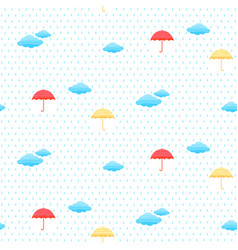 seamless pattern with clouds umbrella and rain vector image