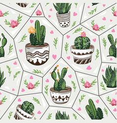 Seamless pattern with succulents vector