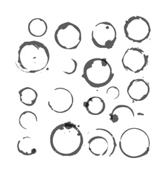 set black silhouette wine stain circles vector image