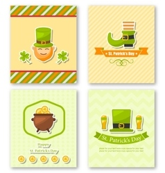 Set Greeting Posters with Traditional Symbols for vector image