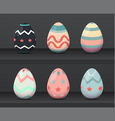 six easter egg with colorful ornament pattern vector image