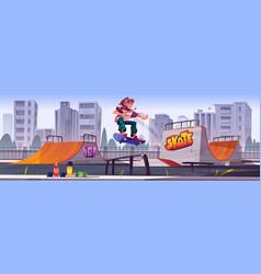 Skate park with boy riding on skateboard vector
